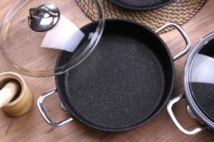 Falez Black Line 24cm Granit Tek Basık Tencere BLN 3015