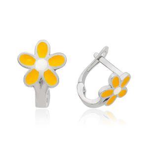 Gümüş Sarı Çiçek Çocuk Küpesi
