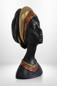 Dekoratif Afrikalı Kadın Biblo 22x16 cm Bronz