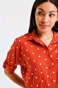 Puantiye Nakışlı Gömlek Oranj