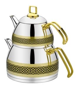 Evimsaray Naz Büyük Boy Dekorlu Siyah Çaydanlık- S-7100