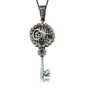 Gümüş Taşlı Anahtar Tuğra Bayan Kolye