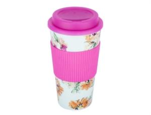 Tantitoni Floral Desenli Silikon Tutacaklı Plastik Kahve Termosu 450Ml QUI BTPCMFD