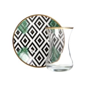 Vivas Yapraklı Siyah Geometrik Çay Seti CS159