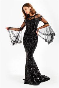 Kolları Volanlı Pulpayet Uzun Abiye Elbise Siyah