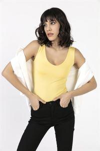 Göğüs Kısmı Astarlı Sandy Polyester Likra Basic Atlet Sarı