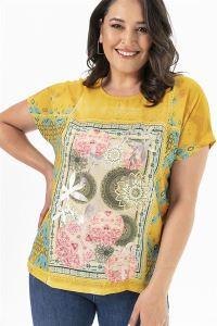 Digital Çiçek Baskılı Krep Likra Büyük Beden Bluz Sarı