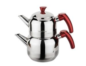 Tantitoni Kırmızı Athena Mini Boy Paslanmaz Çelik Çaydanlık Takımı- CHAI 1CYDMK