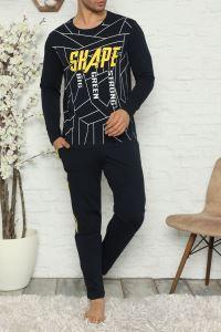 Tom John Lacivert Erkek Pijama Takımı Uzun Kollu Pamuk