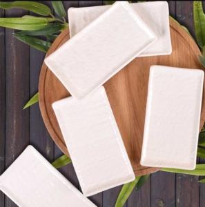 Keramika 6 Adet 15 Cm Doğaltaş Kayık Tabak Mat Transparan Beyaz