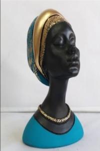Dekoratif Afrikalı Kadın Biblo 22x16 cm Mavi