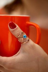 Nazarlık Model Rose Kaplama Gümüş Eklem Yüzüğü