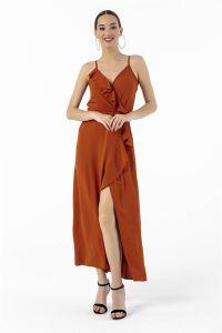 Beli Lastikli Volanlı Krep Elbise Kiremit
