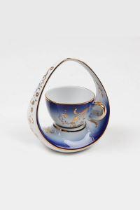 Kütahya Porselen El Yapımı Sepet Kahve Fincan Lacivert
