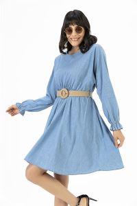 Beli Büzgülü Kot Elbise Mavi