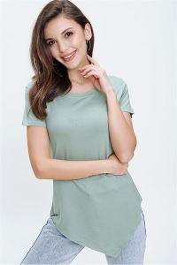 Eteği Asimetrik Likra T-Shirt Mint