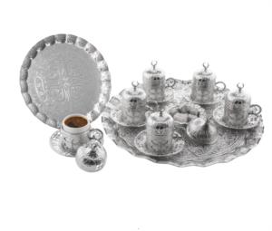 Sena Yonca Yuvarlak 6'lı Kahve Seti Sac Tepsili 113-S-K 11