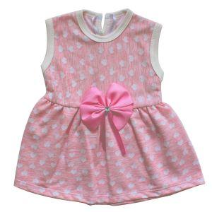Pembe Beyaz Kalpli Fiyonklu Kız Bebek Elbise