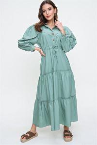 Bebe Yaka Beli Bağcıklı Fisto Detaylı Elbise Mint