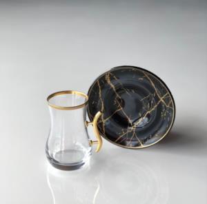 Gürcü Glass 12 Parça Siyah Mermer Desen Kulplu Çay Seti