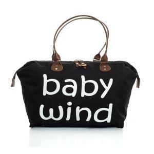 Baby Wind Baskılı Geniş Hacimli Siyah Anne Bebek Bakım Omuz Çantası