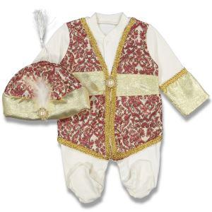 Yeni Model Bordo Sarı Şehzade Bebek Mevlüt Tulumu