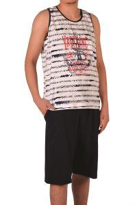 Tom John Erkek Şortlu Bermuda Pijama Takımı Geniş Askılı Cepli Pamuk