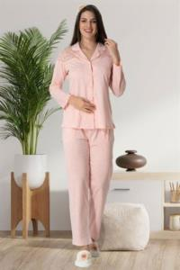 Carpediem Dantel Omuz Detaylı Pijama Takımı- Pudra