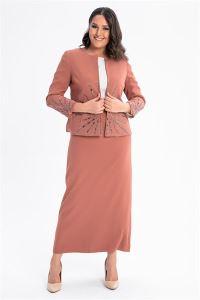 Önü Kolları Taşlı Büyük Beden Elbise Ceket Takım Kiremit