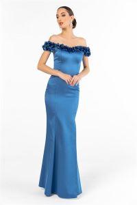 Yaka Üç Boyut Çiçekli Saten Uzun Abiye Elbise Mavi