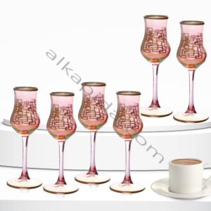 Çınar Kristal 6 Adet Kutu Kare Kırmızı Luster Bistro Kahve Yani Bardak