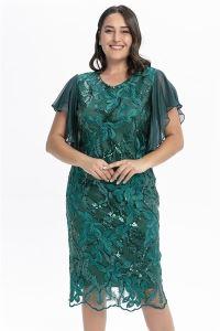 Kolları Volanlı Pullu Dantelli Büyük Beden Abiye Elbise Yeşil