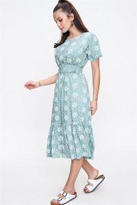 Çiçekli Beli Kalın Kemerli Elbise Mint