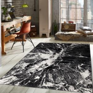 Koza Halı Nazlı Beyaz-Siyah Halı- 07173A