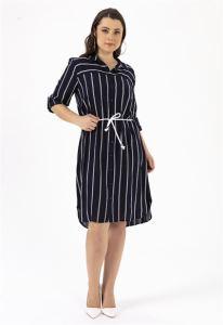 Çizgili Büyük Beden Tunik Elbise Lacivert