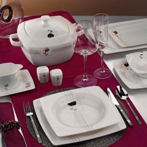 Kütahya Porselen Aliza Bone 83 Parça 25101 Desenli Yemek Takımı