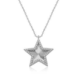 Gümüş Fırfır Desenli Yıldız Bayan Kolye