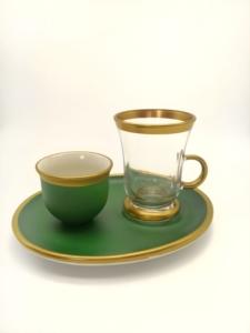 Özcam Kristal 18 Parça Geniş Tabak Çay Takımı D-1219 Yeşil