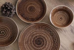 Esta 24 Parça Yuvarlak Porselen Yemek Takımı Kahve