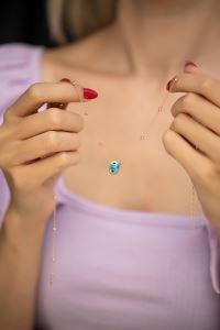 Mavi Nazarlık Model Rose Kaplama Toplu Zincir Gümüş Kolye