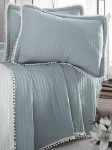 Evim Home Çift Kişilik Ponponlu Yatak Örtüsü Seti Sterling Mavisi