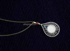 Gümüş İşlemeli Damla Plaka Kolye PLK01-GOLD