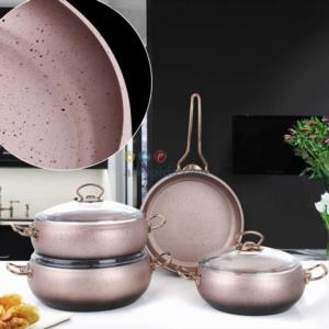 Top Chef 7 Parça Rose Gold Granit Tencere Seti
