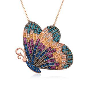Gümüş Renkli Kelebek Kolye