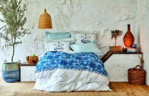 Karaca Home Costa Mavi Rnf Çift Kişilik Nevresim Takımı (4 Yastık - Pico)