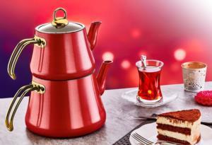 Oms Orta Boy İndüksiyonlu Elagant Çaydanlık Takımı 8203 Kırmızı