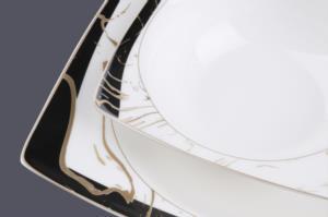 Sevenly 60 Parça Kare Bone Porselen Gold Yemek Takımı AL-86