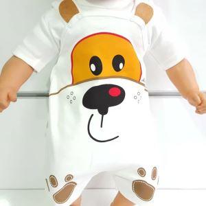Köpek Baskılı Beyaz Badılı Bahçıvan Yazlık Bebek Tulum