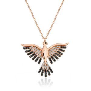 Gümüş Zümrüd-ü Anka Kuşu Bayan Kolye