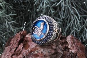 Tuğra Desenli Mavi Mineli Erkek Gümüş Yüzük ALKY53